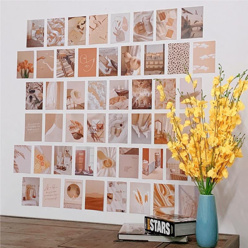 50 листов скандинавских цветов, эстетичные декоративные карты, фото реквизиты, фотопостер, настенная наклейка, двусторонняя открытка