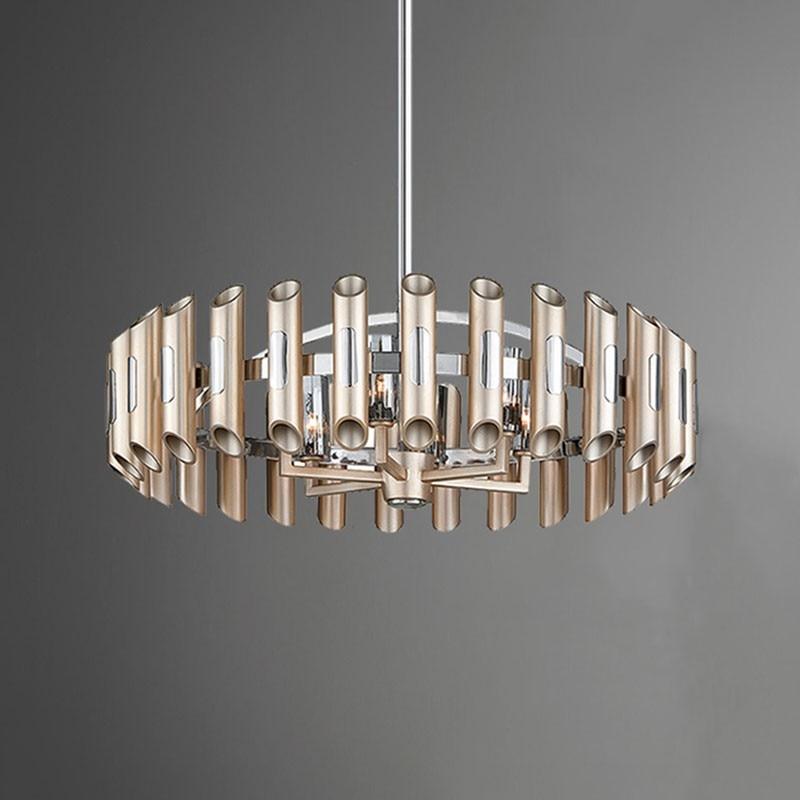 ما بعد الحداثة الفاخرة LED أضواء الثريا الطعام غرفة المعيشة المعادن المستديرة مصباح معلق غرفة نوم مطعم اللوبي الإنارة المنزل