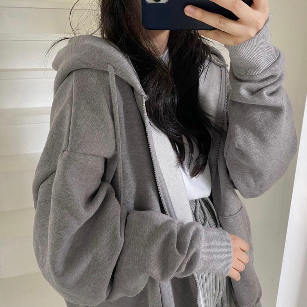 Women Hoodie Harajuku Korean Version Loose Oversized Sweatshirts Solid Color Long-sleeved Hooded Sweatshirt Student Girl Top