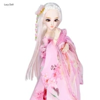 14 bjd doll dairy queen name by spring white hair mechanical joint body pink flower clothes shoes 45cm