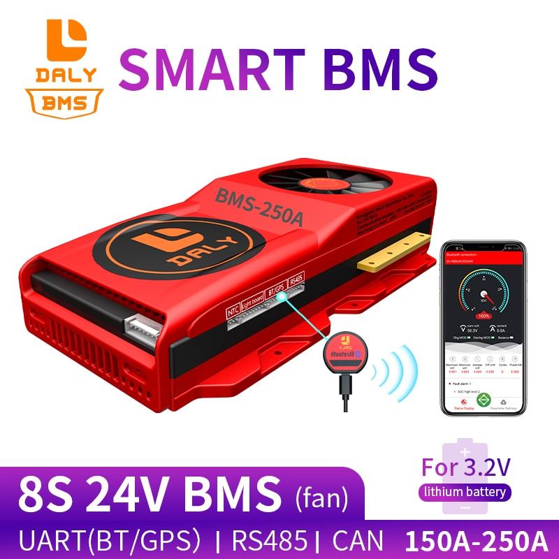 smart bms circuit board lifepo4 battery 8s lifepo4 24V 150A 200A 250A Bluetooth 485 to USB device CAN NTC UART 400ah battery bms
