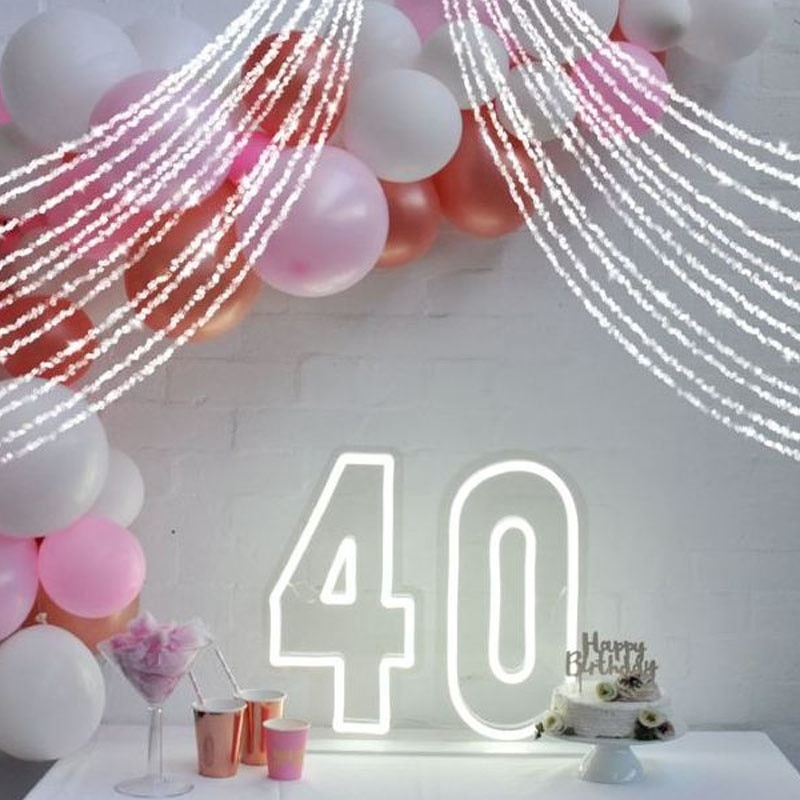 OHANEONK Custom Led 40 Lourty Happy Birthday Backdrop Neon Light Sign Decoration Home Bar Wall Bedroom Party Decorative Cool enlarge