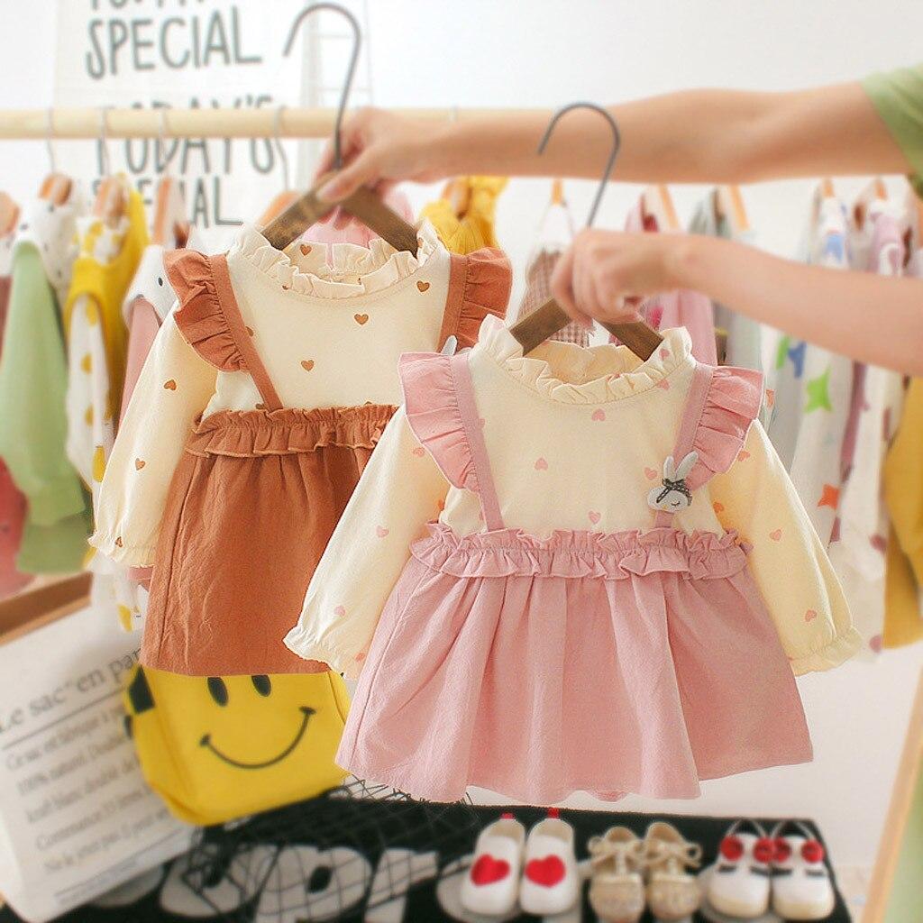 Korean Style Toddler Fall Clothes Infant Baby Girls Casual Long Sleeve Princess Cartoon Dress Clothes roupa menino recem nascido