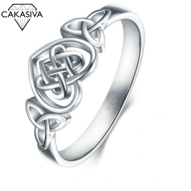 Anel de amor 925 anel celta de prata para anel de noivado de casamento feminino