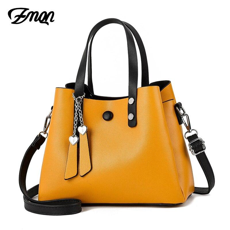 ZMQN bolso de cuero para mujer 2019 bolso bandolera Casual bolsos amarillos bolsos de diseñador para mujer bolsos de hombro de alta calidad para mujer A818