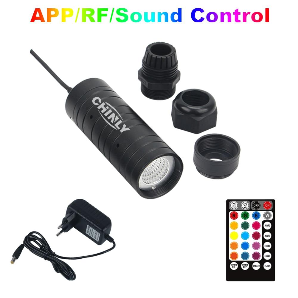 Motor de luz de fibra óptica con Control remoto por Bluetooth de 6W con controlador remoto por radiofrecuencia RGB, dispositivo LED para todo tipo de cables de fibra óptica