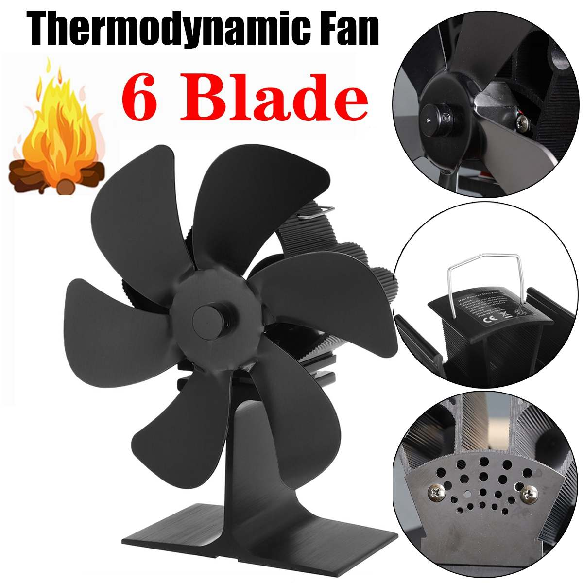 6 شفرة الموقد الأسود تعمل بالطاقة الحرارية موقد مروحة تسجيل الخشب الموقد صديقة للبيئة هادئة المنزل الموقد مروحة كفاءة توزيع الحرارة