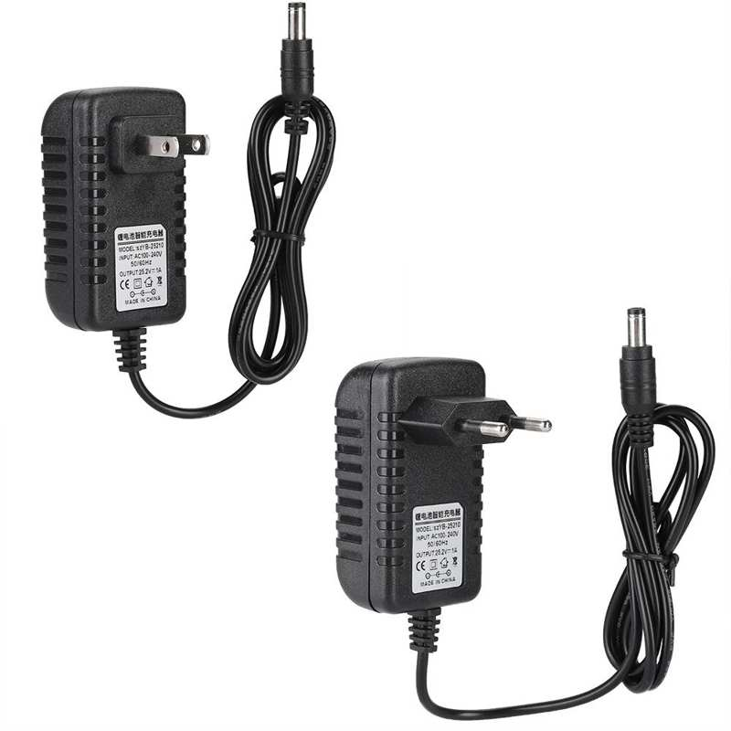 25.2V/1A Fast Charging Li-ion Charger Adapter 100-240V Input with Multi-level Protections Lithium Ba