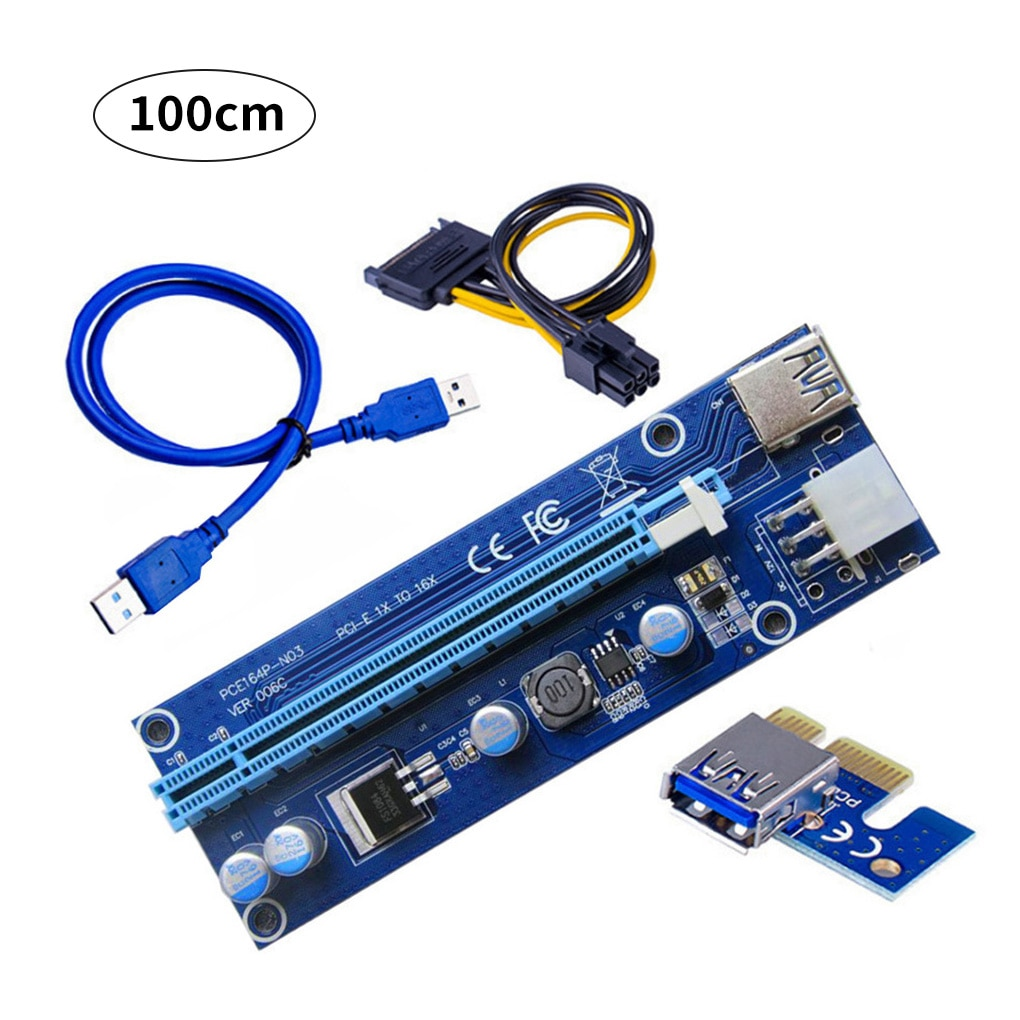 ul 1007 16awg pci e 6pin male to dual 6pin male power cable for mining VER006C PCI-E Riser Card PCI Express PCIE 1X to 16X Extender Adapter USB 3.0 Cable SATA 6Pin Power for Mining Miner 30cm1m Cable