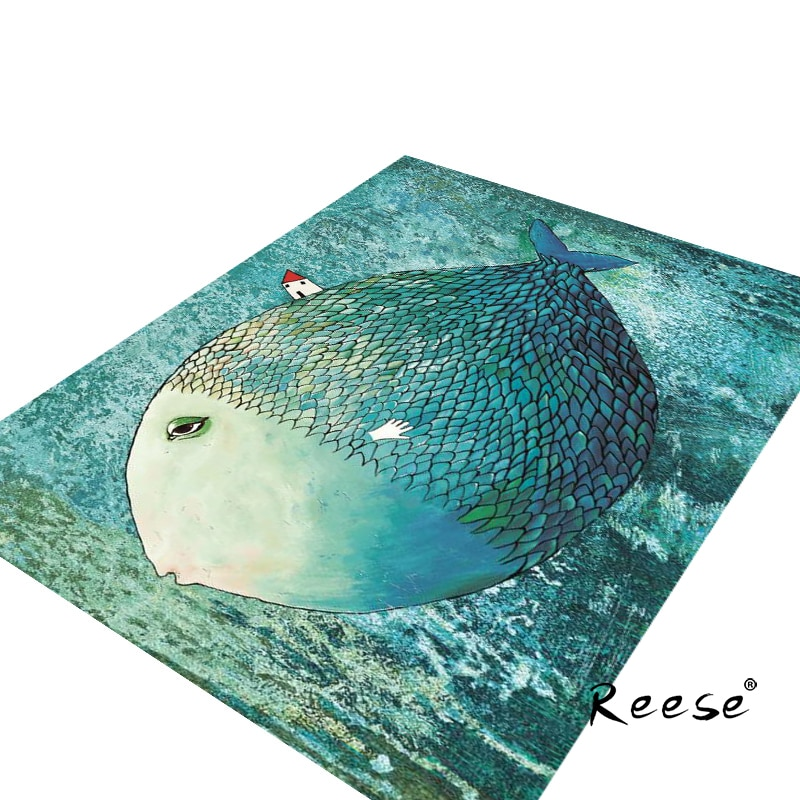 Reese-سجاد زحف لغرفة الأطفال ، ديكور عالم بحري ، قاع غير قابل للانزلاق ، بدلة سهلة التنظيف للعائلة مع الحيوانات الأليفة
