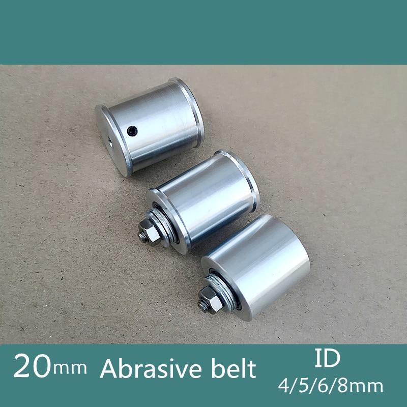 20 мм DIY двухподшипниковый ленточный шлифовальный станок, направляющее колесо с 8 мм стержнем вала/гаечным ключом