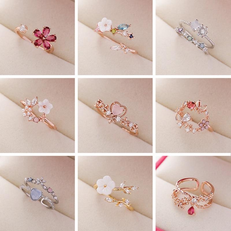 Anillo coreano de circón delicado, anillo con forma de corazón y Flor de concha de cristal para mujer, regalo para fiesta, 2020