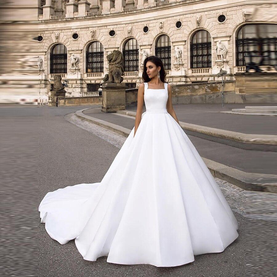 فستان زفاف ساتان بياقة مربعة بدون أكمام ، فستان زفاف ، خط a ، دانتيل خلفي مع فيونكة ، 2020