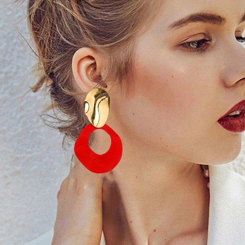 Novo coreano geométrico vermelho redondo balançar brincos de metal irregular gota brincos para as mulheres moda jóias feminino menina presente design