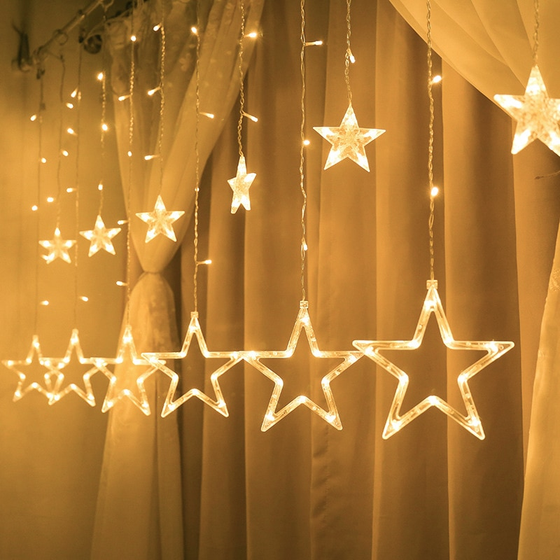 Christmas Fairy Lights Ramadan Led String Lights Star Garland on Window Curtain Indoor Tree Decoration Halloween Wedding Light