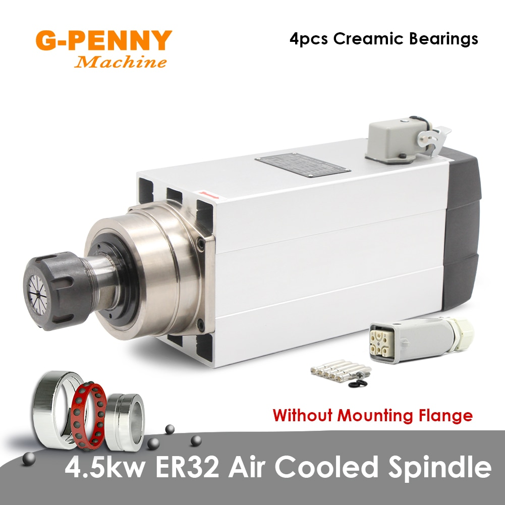 جديد وصول! محرك المغزل المبرد بالهواء 4.5kw ER32 ، 220 فولت/380 فولت ، عمود دوران سيراميك مربع ، دقة 0.01 مللي متر