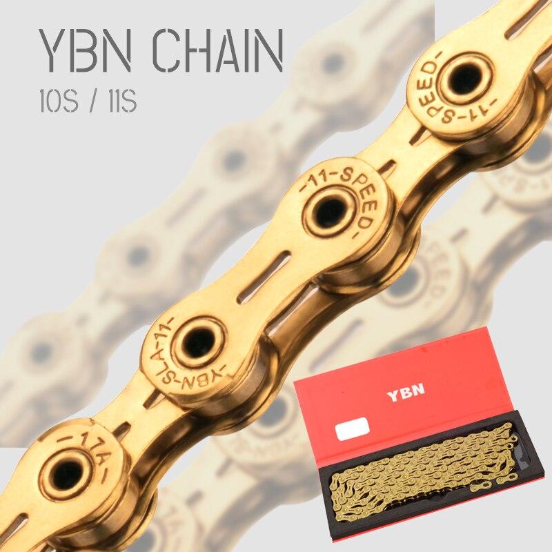 Ybn 10/11 velocidade bicicleta corrente de ouro mtb estrada corrente para shimano/sram/sistema campanolo ultraleve corrente mtb peças da bicicleta
