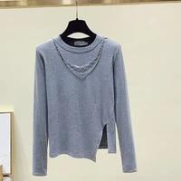 women chain t shirt korean cotton long sleeve tshirts autumn 2021 high street ladies tops elastic female slit tee shirt femme