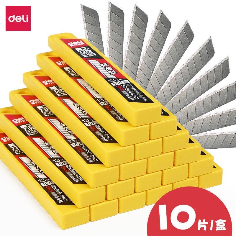 Deli 2019 10 pièces/paquet 9MM couteau utilitaire lames faible teneur en carbone alliage acier papier bureau papeterie Art papier coupe livraison directe