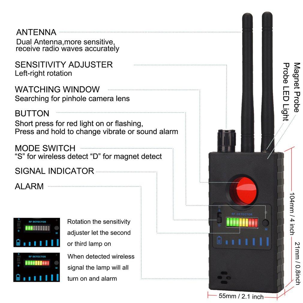 Dual Antenna G528 Anti Candid Hidden Camera Detector RF Signal Secret GPS Audio GSM Mobile Phone Wifi Pinhole Cam Spy Bug Finder enlarge