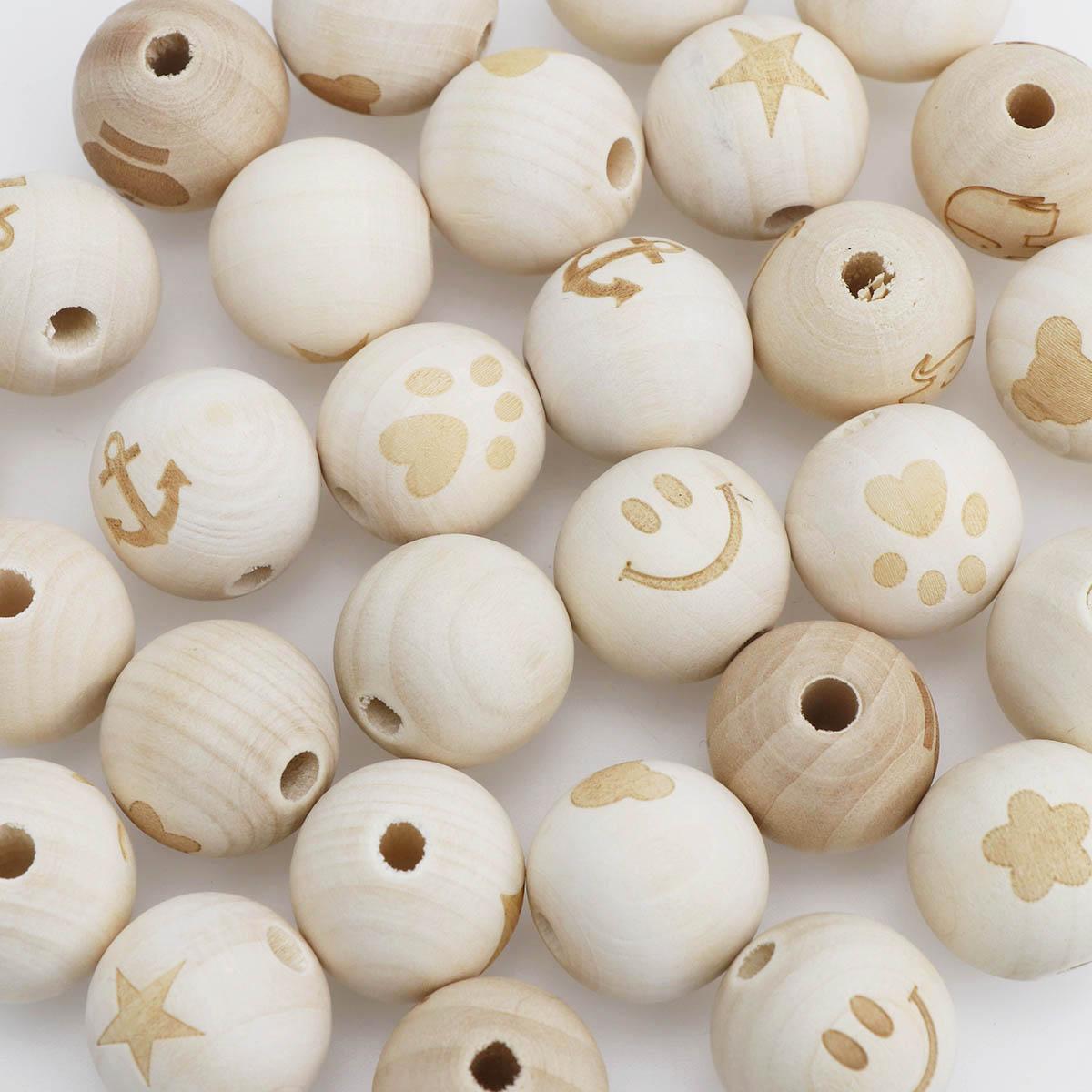 Смешанные 20 штук 20 мм DIY улыбающееся лицо деревянные бусины натуральный шар круглый натуральный деревянный бисер улыбающееся лицо Сердце З...