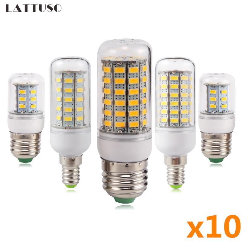 10 шт./лот светодиодная лампочка E27 E14 220V 24 36 48 56 69 72 светодиодов энергосберегающие лампочки для дома