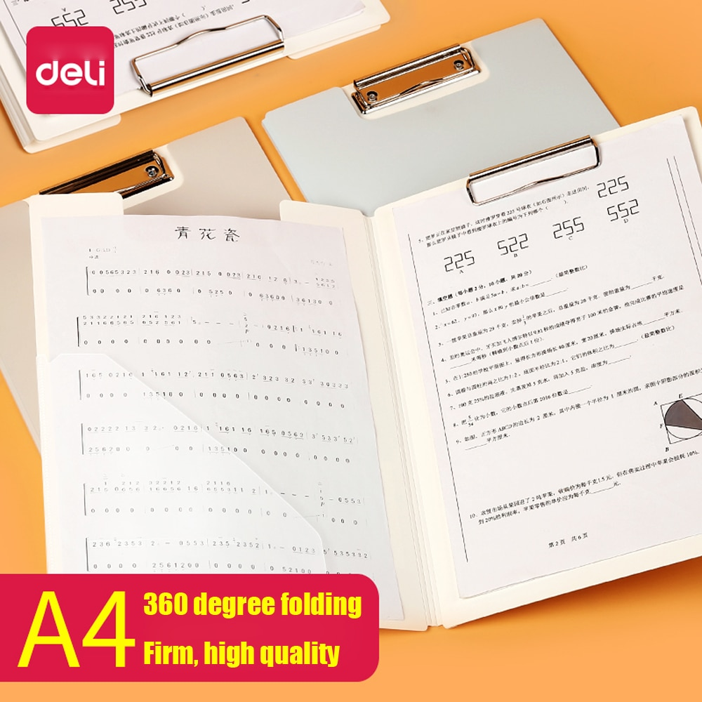 a4 multifunctional folder information folder sales clip manager talk about single clip office board clip measuring room contract Deli 1PCS A4 Folding Board Folder Paper Clip Bills Contract folder Student Writing Pad Board Clamp
