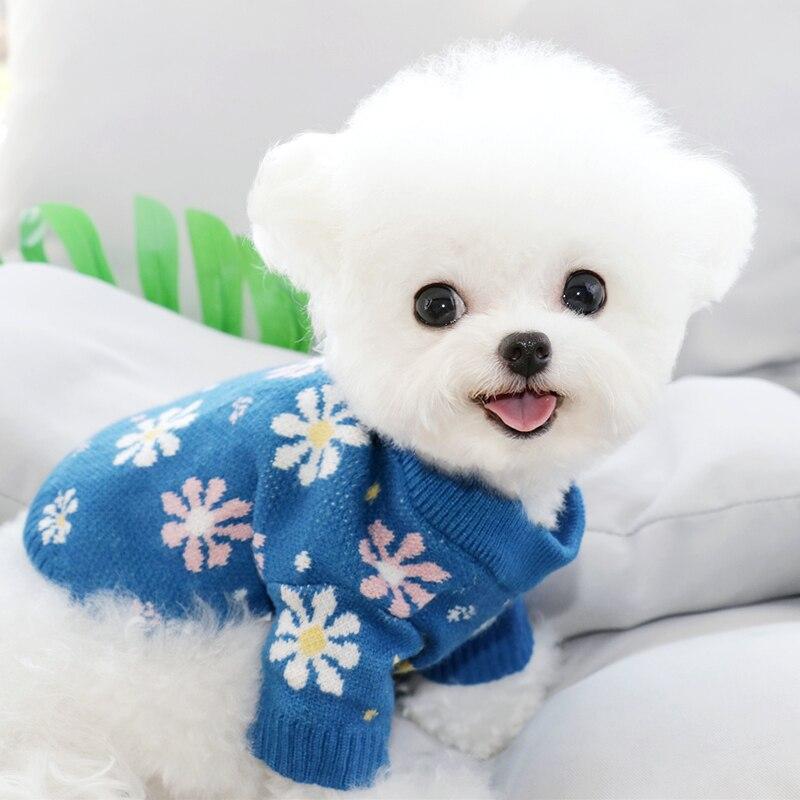 Голубая Одежда для собак в виде снежинки, трикотажная теплая осенне-зимняя одежда в виде флуоресцентного пуловера, модная домашняя одежда
