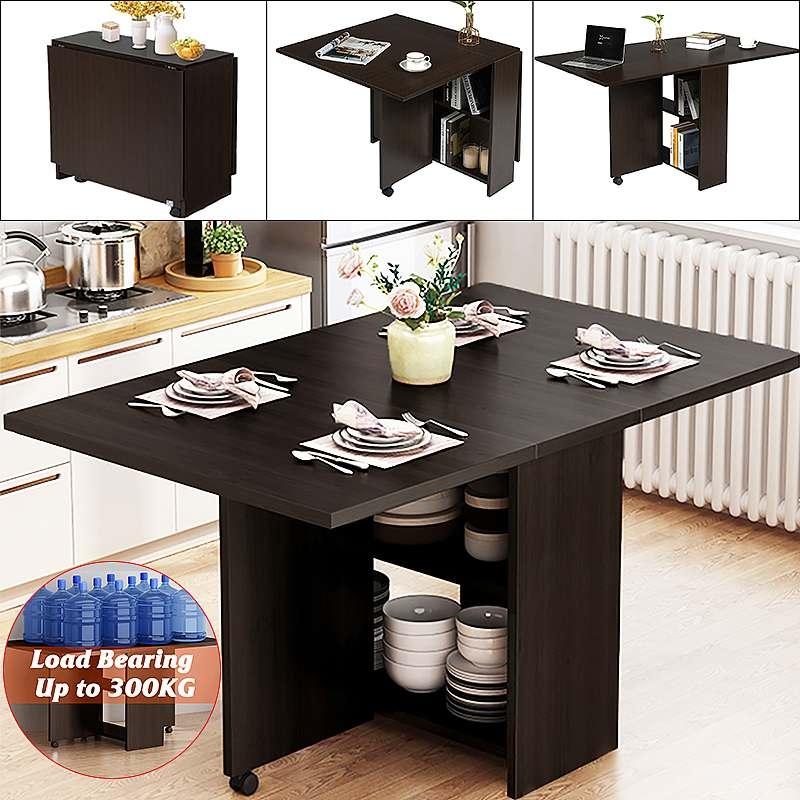 3 في 1 المتداول طاولة طعام قابلة للطي مجموعة الأثاث الحديثة طاولة خشبية الطعام المنقولة طاولة مكتبية تخزين المطبخ أثاث المنزل