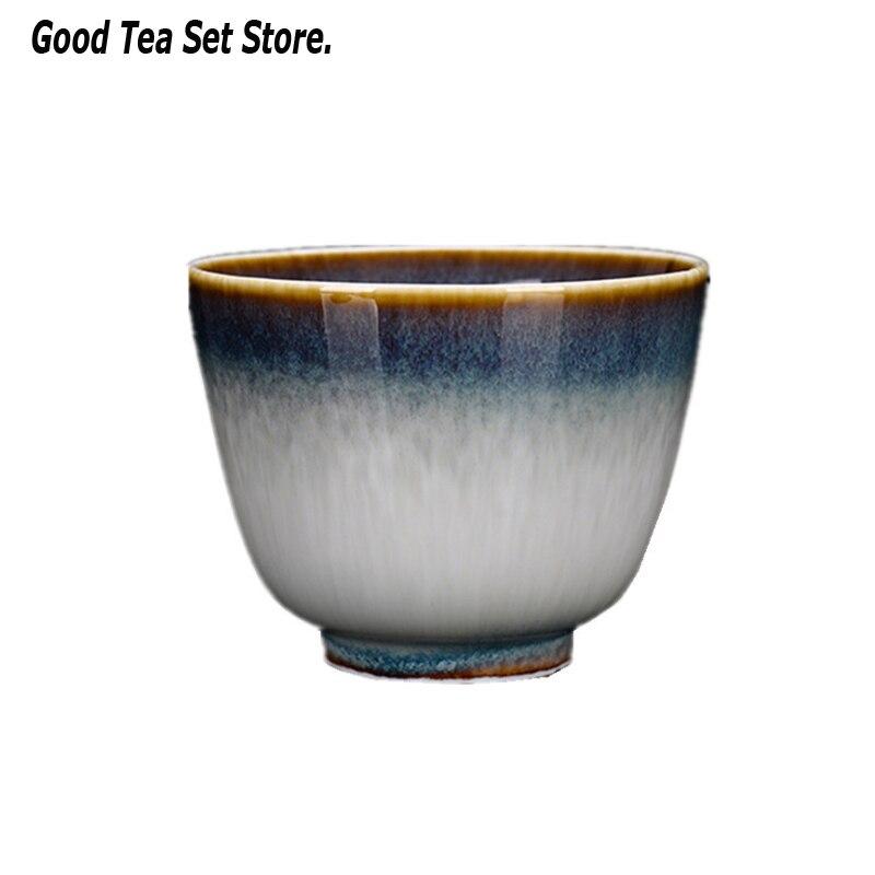 Mudança Xícara De Porcelana Xícara de Chá Caneca de cerâmica Forno Chá Kungfu Jogo de Chá Casa Tigela Único Copo Copos de Tianmu Kung Fu Teaware Casa decoração Canecas