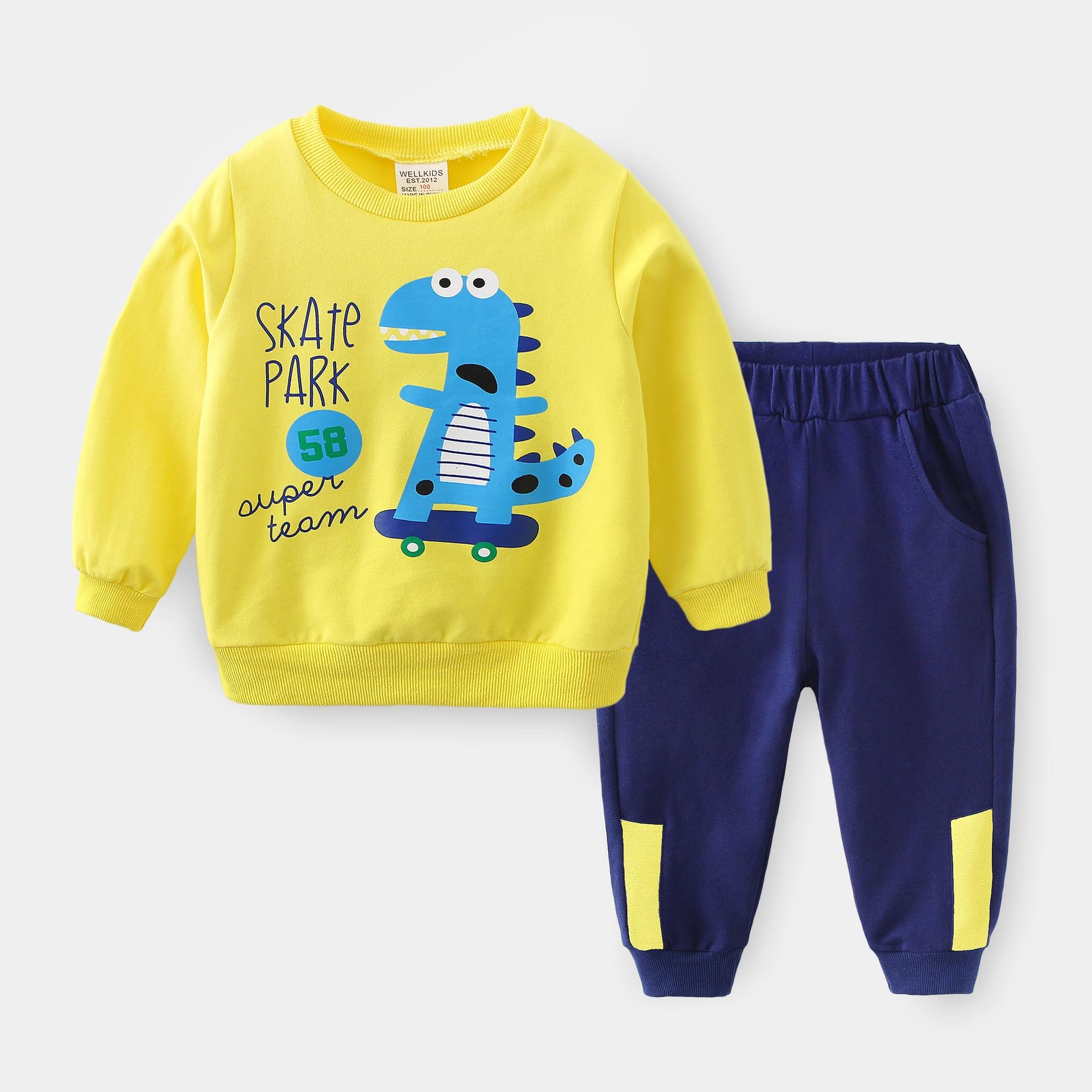 ZWF1420 جديد ربيع الخريف القطن ملابس الأطفال طفل الفتيان الفتيات الكرتون السراويل 2 قطعة/مجموعة خارج طفل ملابس عصرية رياضية