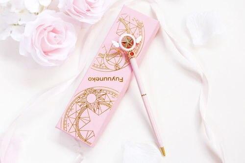 Límite Anime tarjeta Captor Sakura ala de estrella rosada bolígrafo Magic Stick pluma de varilla japonés regalos de navidad nuevo
