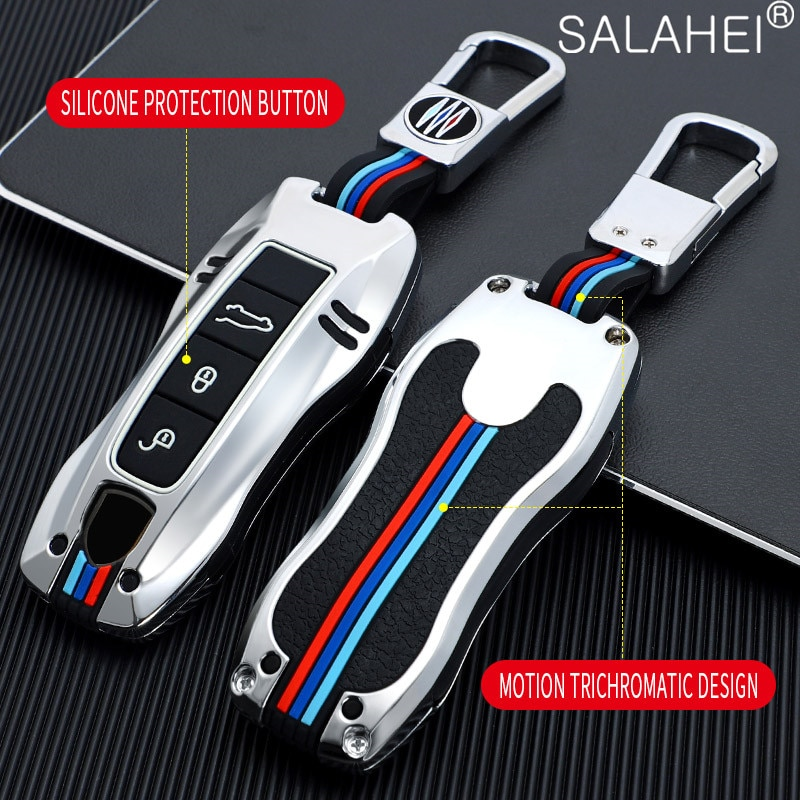 Car Smart Key Case For Porsche Cayenne Macan 911 Boxster Cayman Panamera 3 Buttons Keychain Protection Accessories Car-Styling