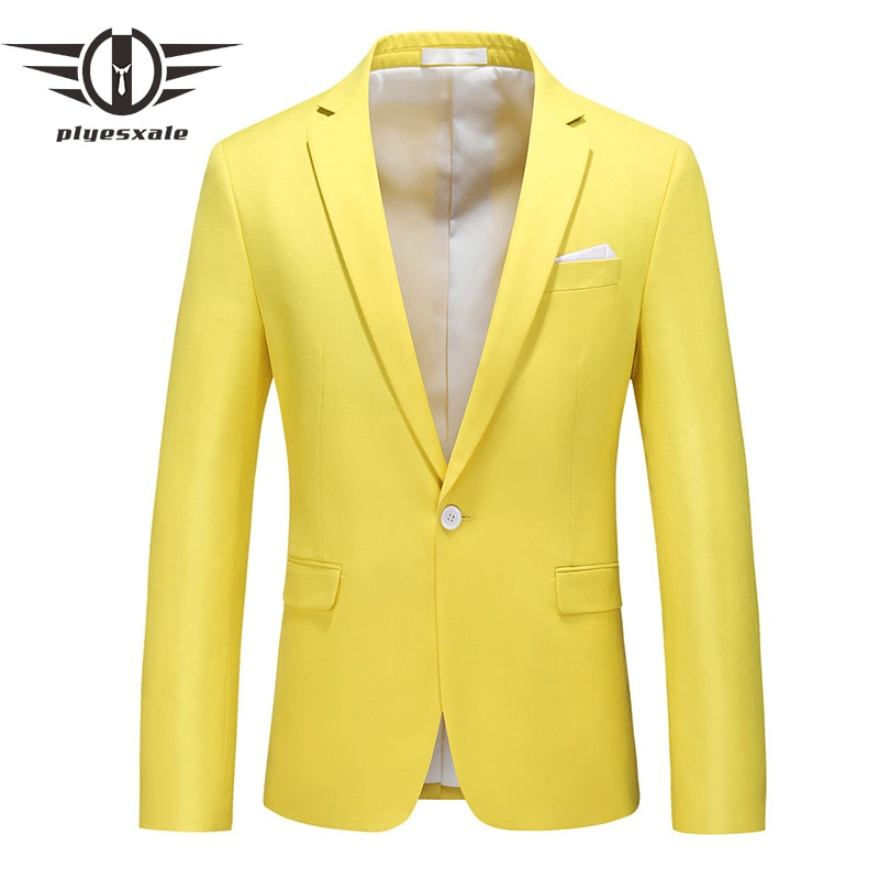 Azul verde rosado rojo borgoña limón amarillo hombres Blazer 2020 nuevo Casual negocios Formal Blazer Chaqueta Hombre boda Blazers Q932