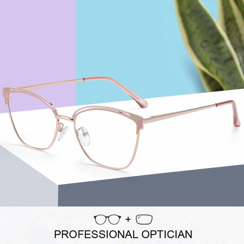 ZENOTTIC Cat Eye Prescription Glasses Frame Women Anti Blue Ray Photochromic Eyewear Metal Optical M