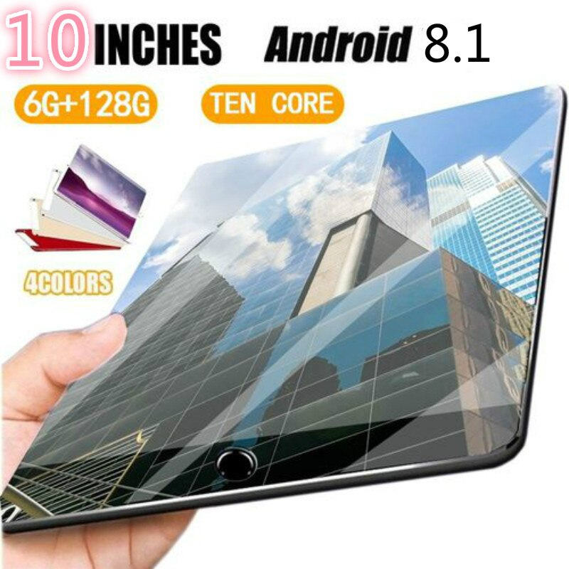 10 inch Tablet Pc Android 8.0 10 Core 1280*800 IPS Screen 6GB 128GB WiFi GPS Bluetooth 4G Phone Call Dual SIM 10 inch Tablets