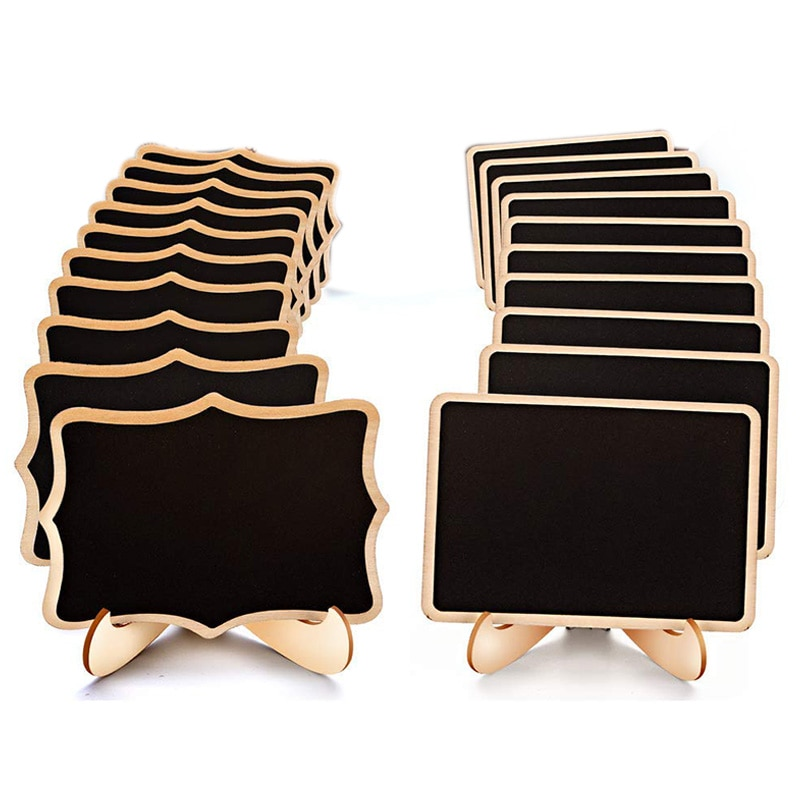 Mini carteles de pizarra, 20 paquetes enmarcados pequeñas etiquetas de pizarra con soporte de caballete, pizarra de madera para números de mesa, comida signos