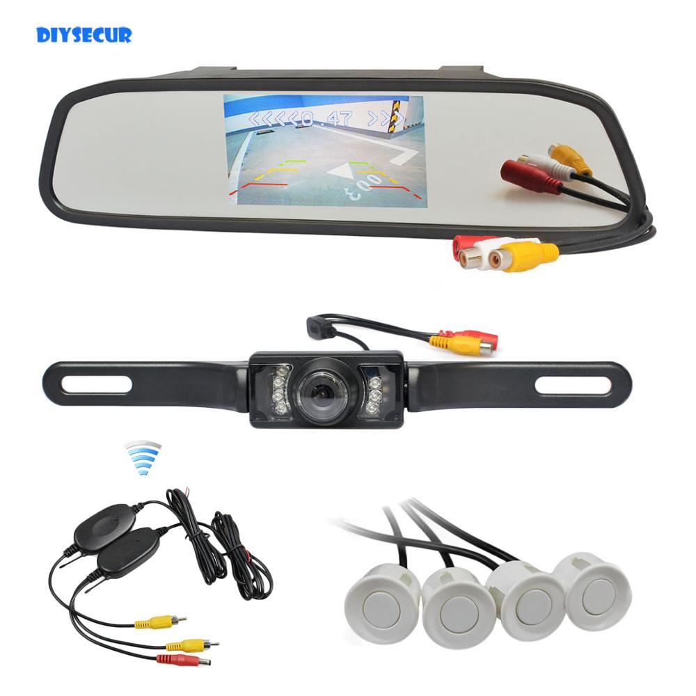 "DIYSECUR Drahtlose Video Parkplatz Radar 4 Sensoren 4,3 ""Auto Monitor Spiegel Monitor + IR Rückansicht Auto Kamera"