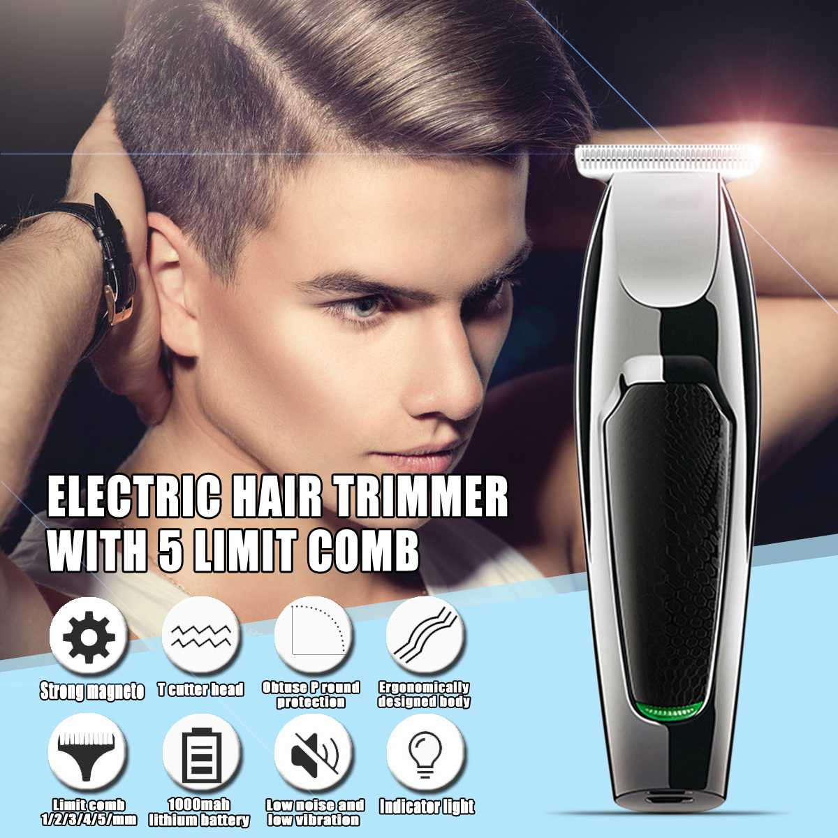 Cortadora de cabello eléctrica recargable USB con 5 límite peine mínimo pelo longitud 0,1mm pelo talla 10W