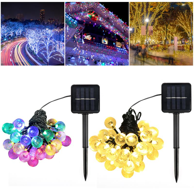 Guirnalda de luces LED de 30/50, guirnalda Solar de 5M para exteriores, guirnalda de bolas LED a prueba de agua para fiesta, boda, Patio y jardín, guirnalda de luces de hadas