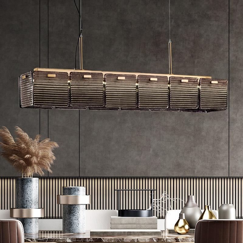 LED مطعم الثريا ضوء الفاخرة ما بعد الحداثة تصميم غرفة الطعام بار مقهى الجبهة زجاج مستطيلة مصباح