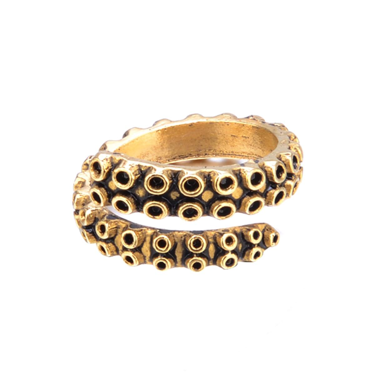 Anillos de pulpo de oro para mujer, anillo de tamaño ajustable de acero inoxidable Vintage Punk para hombre, anillo envolvente tentáculo de calamar, joyería para mujer