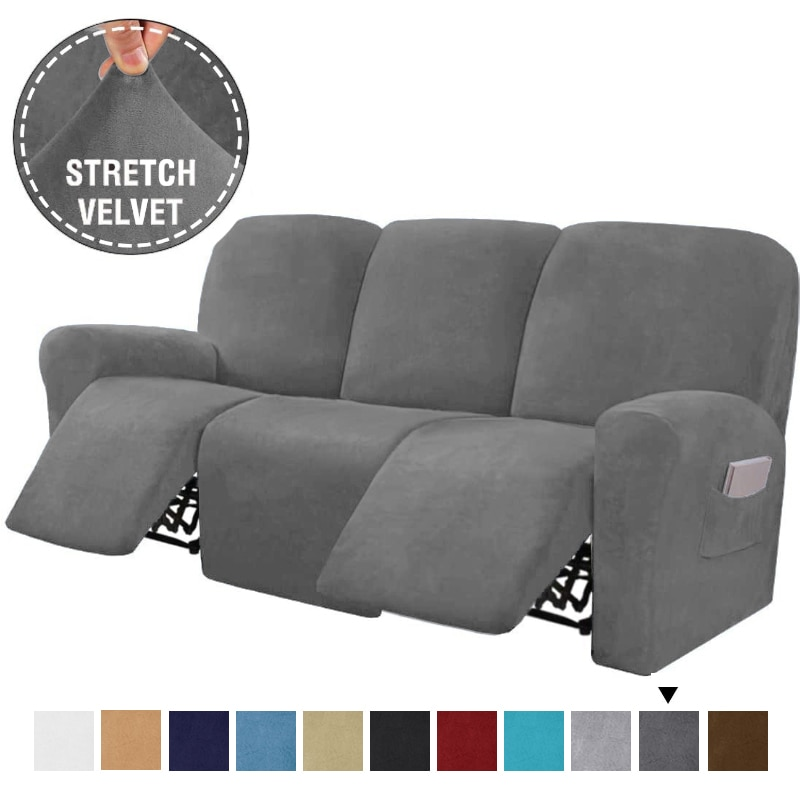 في نهاية المطاف ديكور 8 قطع كرسي أريكة يغطي المخملية تمتد مستلق الأريكة يغطي ل 3 وسادة أريكة للتمدد أغطية