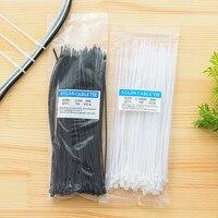 100pcs 2.5*200mm/2.5*100mm Nylon Plastic Zip Trim Wrap Cable Ties Loop Clamps Self-Locking Anti-Aging High Tensile Strength