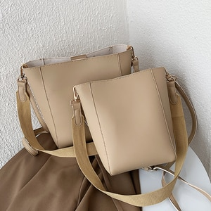 Two Sizes Big Small Bucket Bags Vintage Crossbody Bags for Women 2020 PU Leather Shoulder Bag Composite Women's Handbag Tote Bag