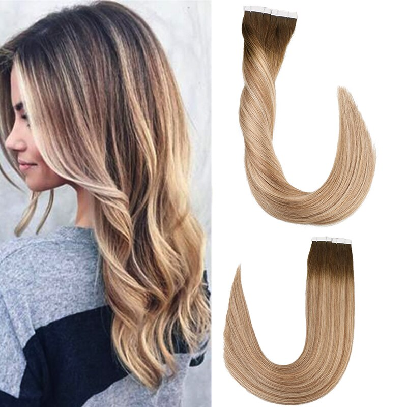 alishow tape in remy human hair extensions double drawn hair straight invisible skin weft pu tape on hair extensions Toysww Remy Tape In Human Hair Extensions Double Drawn Adhesive Straight Hair Skin Weft 14- 24 Multi Colors