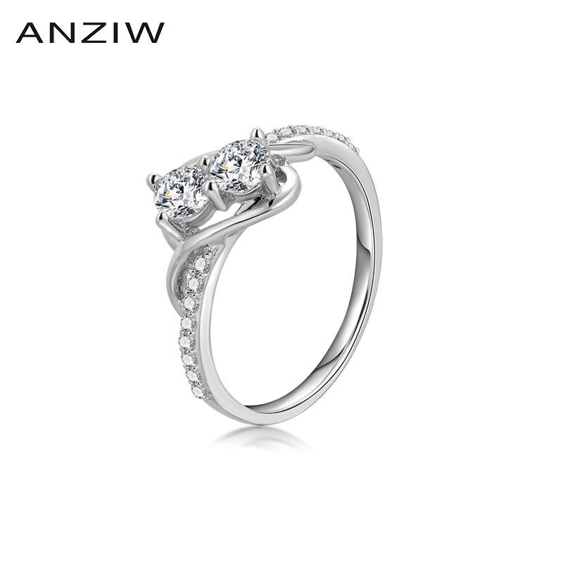 Ainoushi sona dois cortes redondos casamento nupcial anéis de banda jóias 925 prata esterlina feminino aniversário egagement anéis de noiva presente