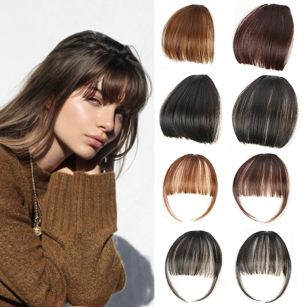 CLong Women Clip In Air Bangs Hairpiece Synthetic Fake Hair Piece Clip In Hair Extensions Front neat air bangs Fringe bangs