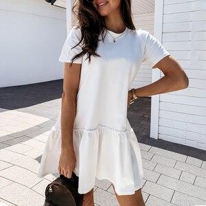 dress women casual crew neck ruffle women dress short-sleeve solid loose short dress summer style A-line ladies mini dress new