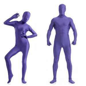 Free shipping Purple Zentai Full Body Skin Suit Catsuit Halloween Costumes customized for open eyes mouth can add crotch zipper